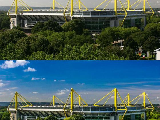 Vorher / Nachher  Bild vom BVB-Stadion