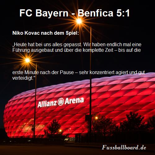 FC Bayern gegen Benfica 5-1 Sieg in der Champions League Gruppenphase