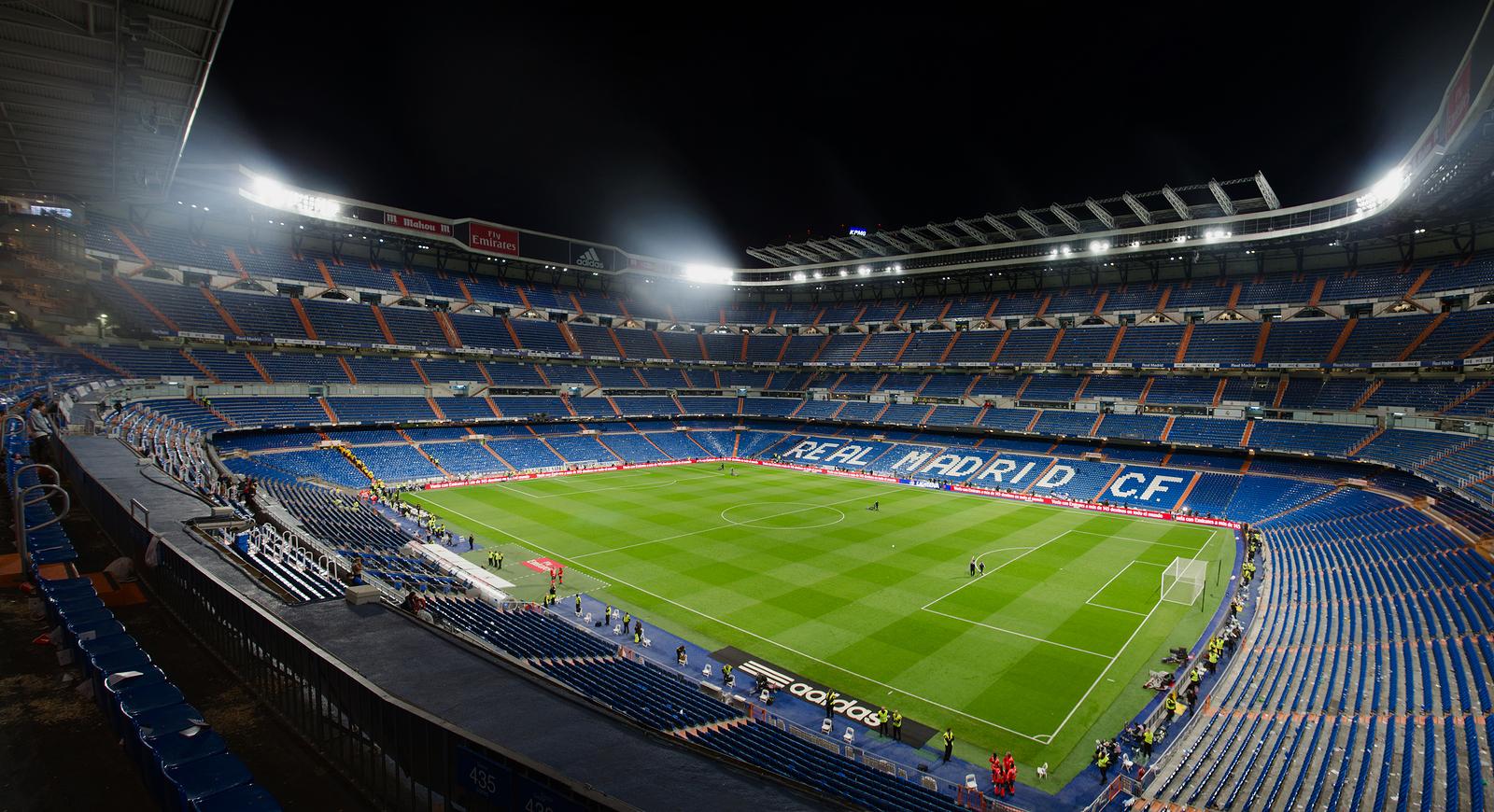 Night view of Santiago Bernabeu stadium